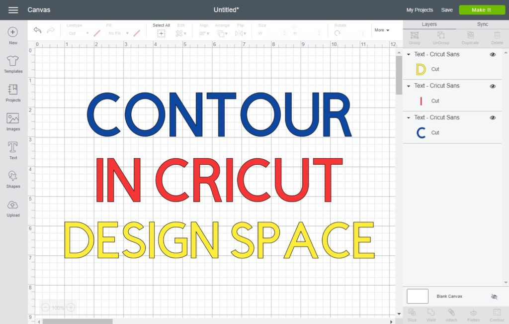 Contour in Cricut Design Space written as cover for this tutorial.
