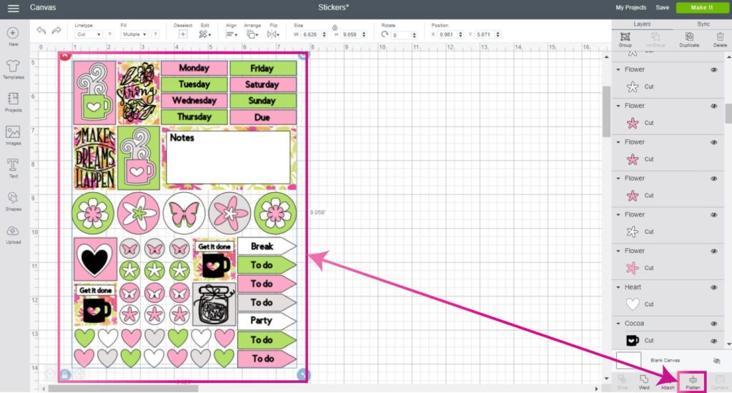Cricut Design Space Screenshot:  Flatten all elements before cutting the stickers