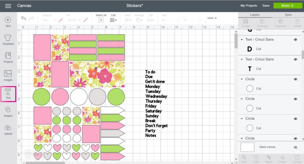 Cricut Design Space Screenshot:  add text to your stickers