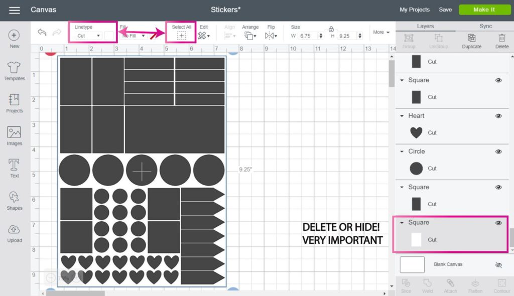 Cricut Design Space Screenshot:  Complete sticker page with all of the shapes and delete guideline