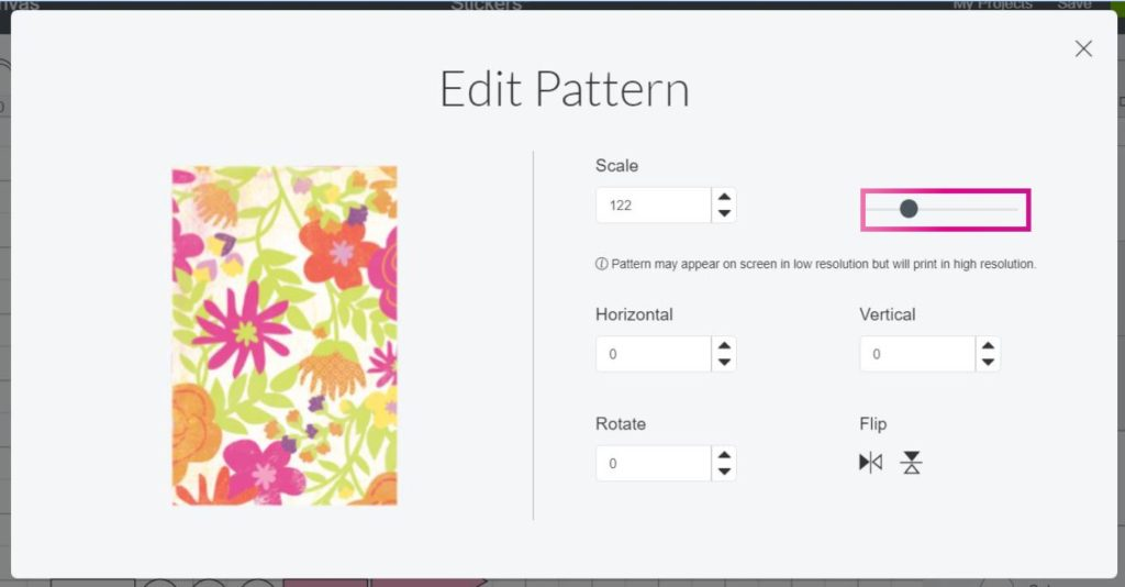 Cricut Design Space Screenshot:  Edit the way your pattern looks on your stickers