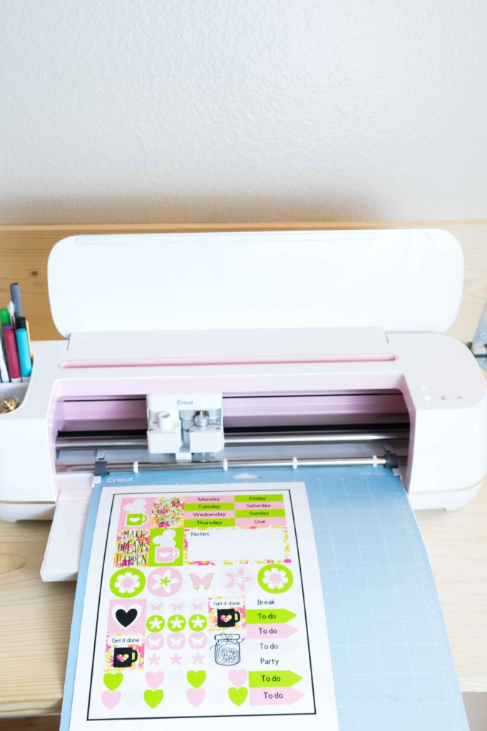 Load Mat with the printed sticker sheet and load it to your Cricut machine