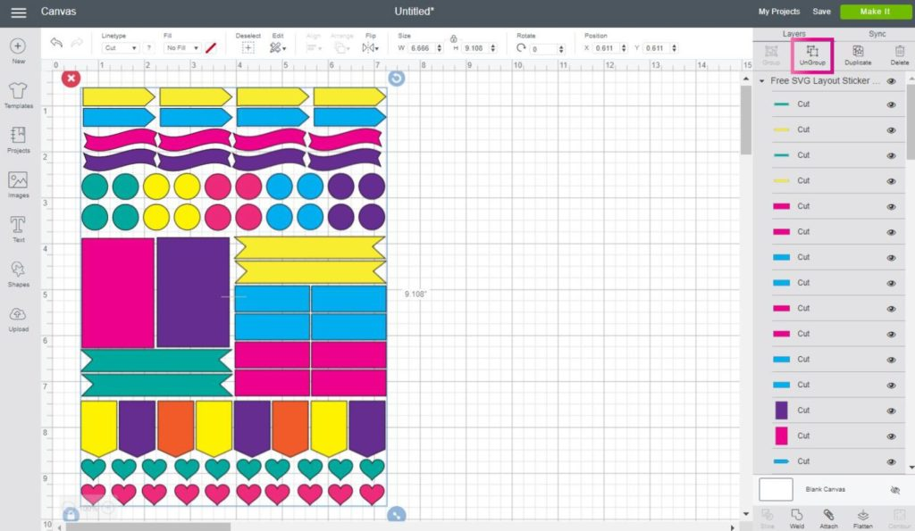 Sticker Sheet layout in Cricut Design Space (ungroup)