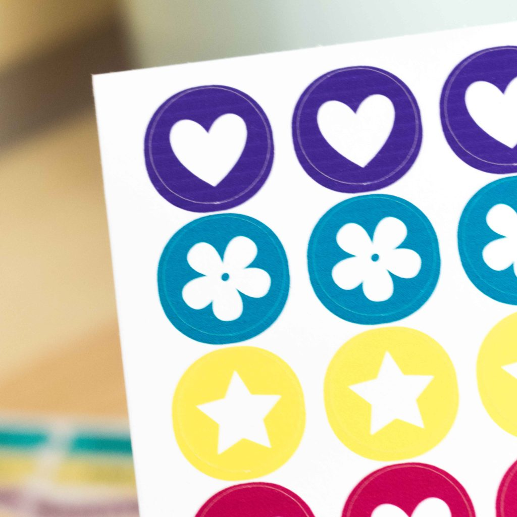 Close look up to the cricut stickers made with cricut