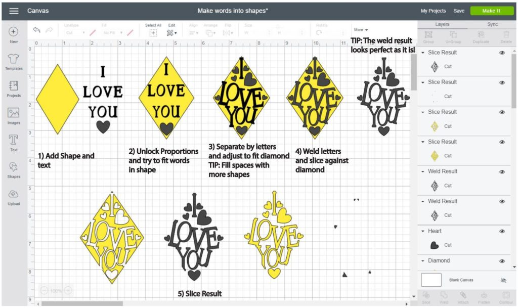 Screenshot Cricut Design Space: Step by step of how to make a word into a diamond shape