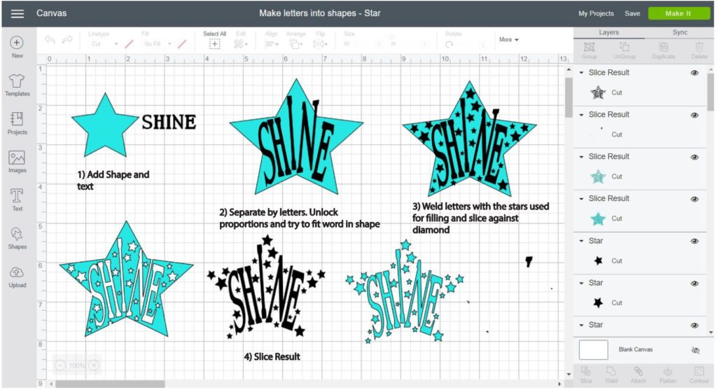 Screenshot Cricut Design Space: Step by step of how to make a word into a star shape