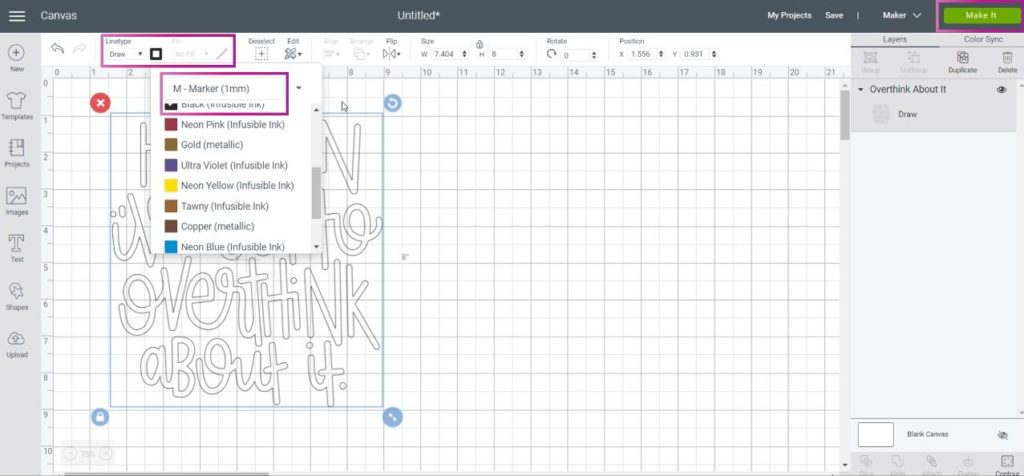 Change image's linetype to draw and select the Infusible Ink Pen color you need.