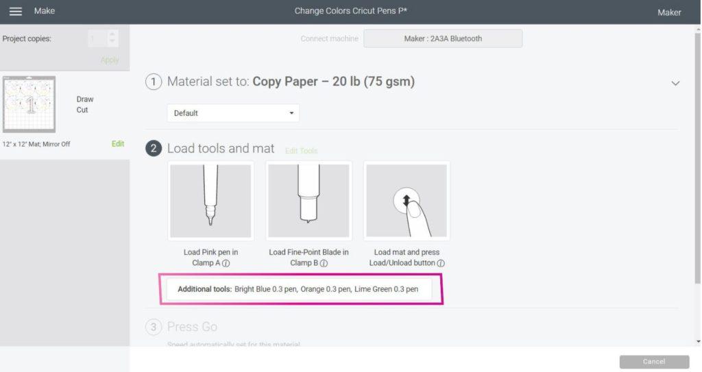 Select Materials Cricut Design Space.