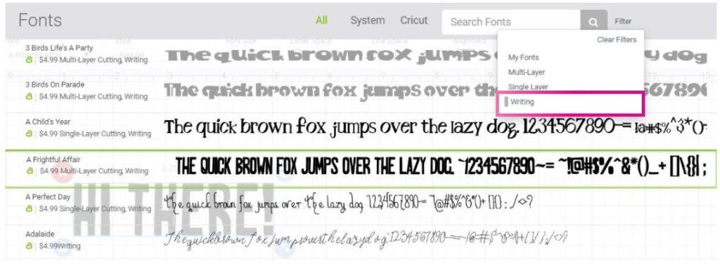 Screenshot Design Space: choosing writing fonts.