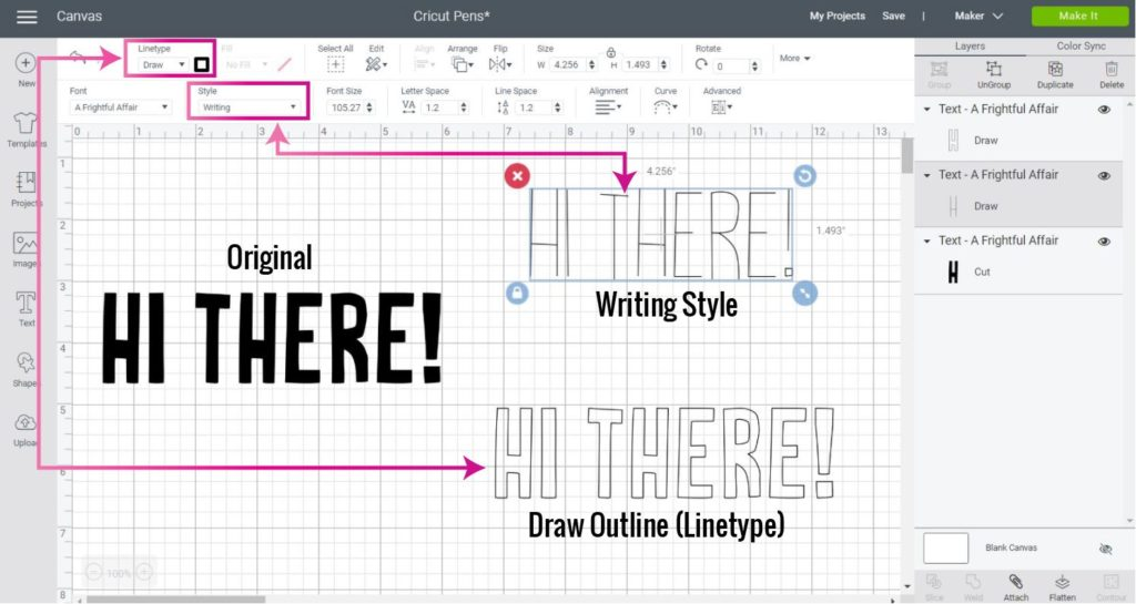 Screenshot Design Space: Use Cricut pens with writing or outlined fonts.