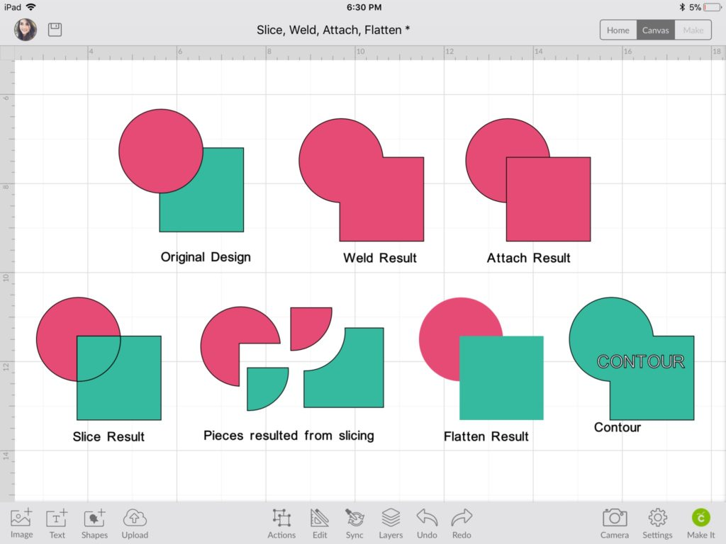 Cricut Slice, Weld, Attach, Flatten Info-Graphic Ipad/Iphone