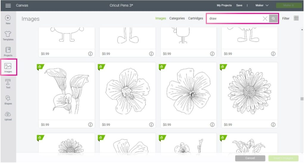 Screenshot Design Space: Choosing images ready to draw in Cricut Design Space