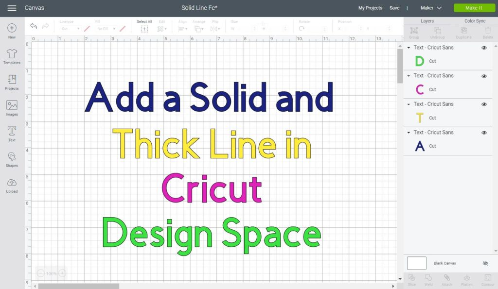 How To Add A Solid Line In Cricut Design Space Thin And Thick