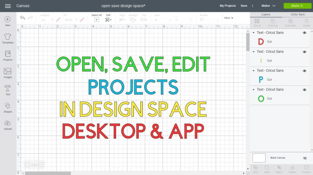 Save, Open & Edit Projects in Cricut Design Space Desktop and App Featured Image