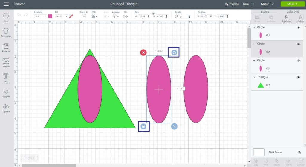 What we need to make a rounded triangle on Cricut Design Space