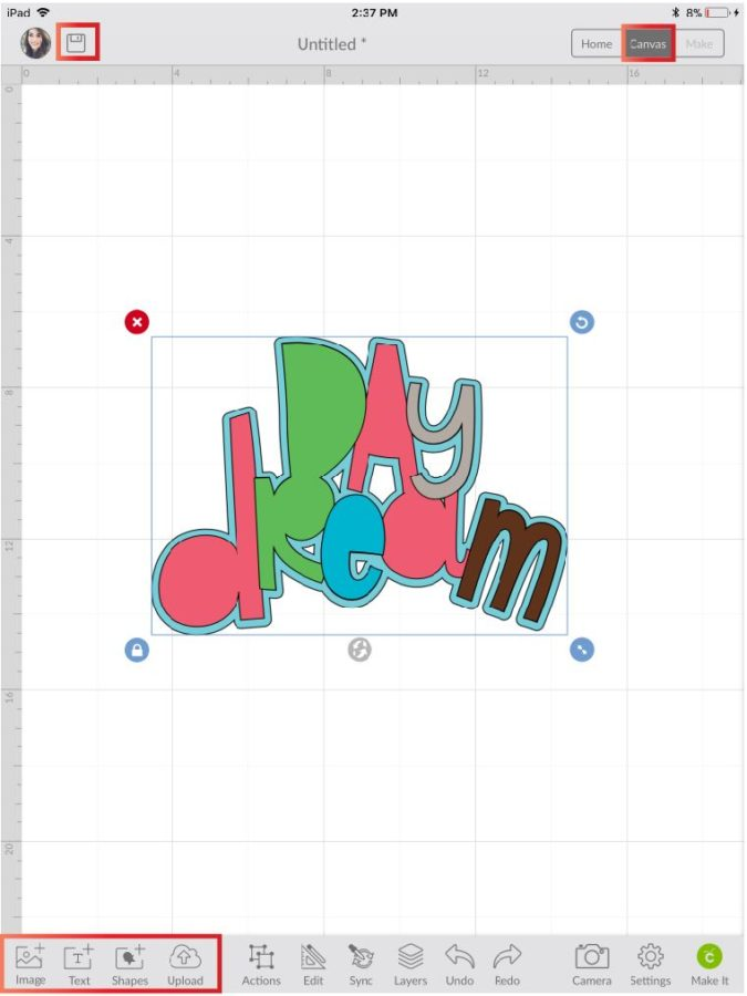 Image in Cricut Design Space App