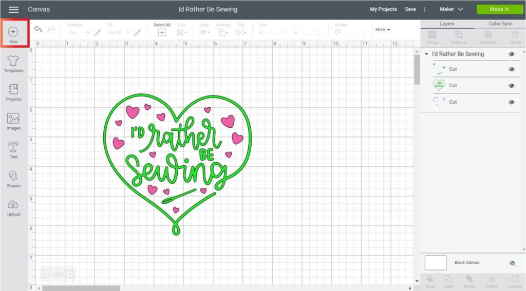 Adding a new project in Cricut Design Space Desktop
