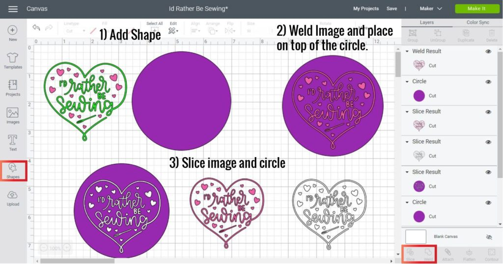 Welding and Slicing an image in Cricut Design Space Desktop