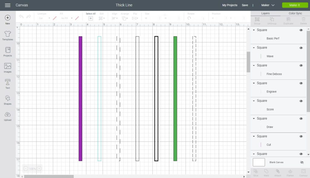 Different Linetype for thick lines in Cricut Design Space