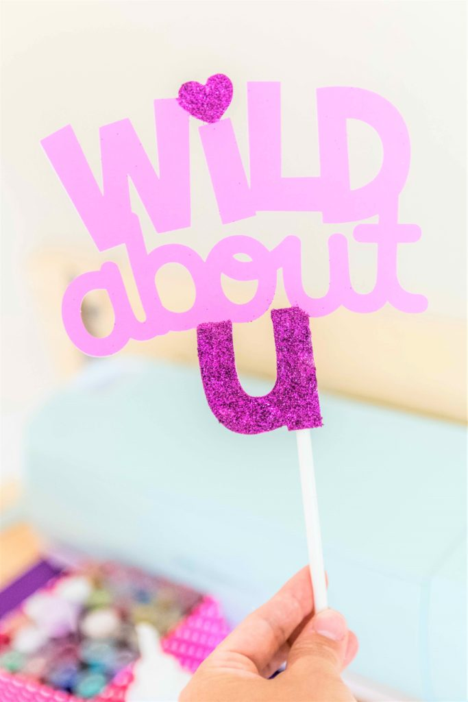 Wild about you cake topper made with Cricut (Front)