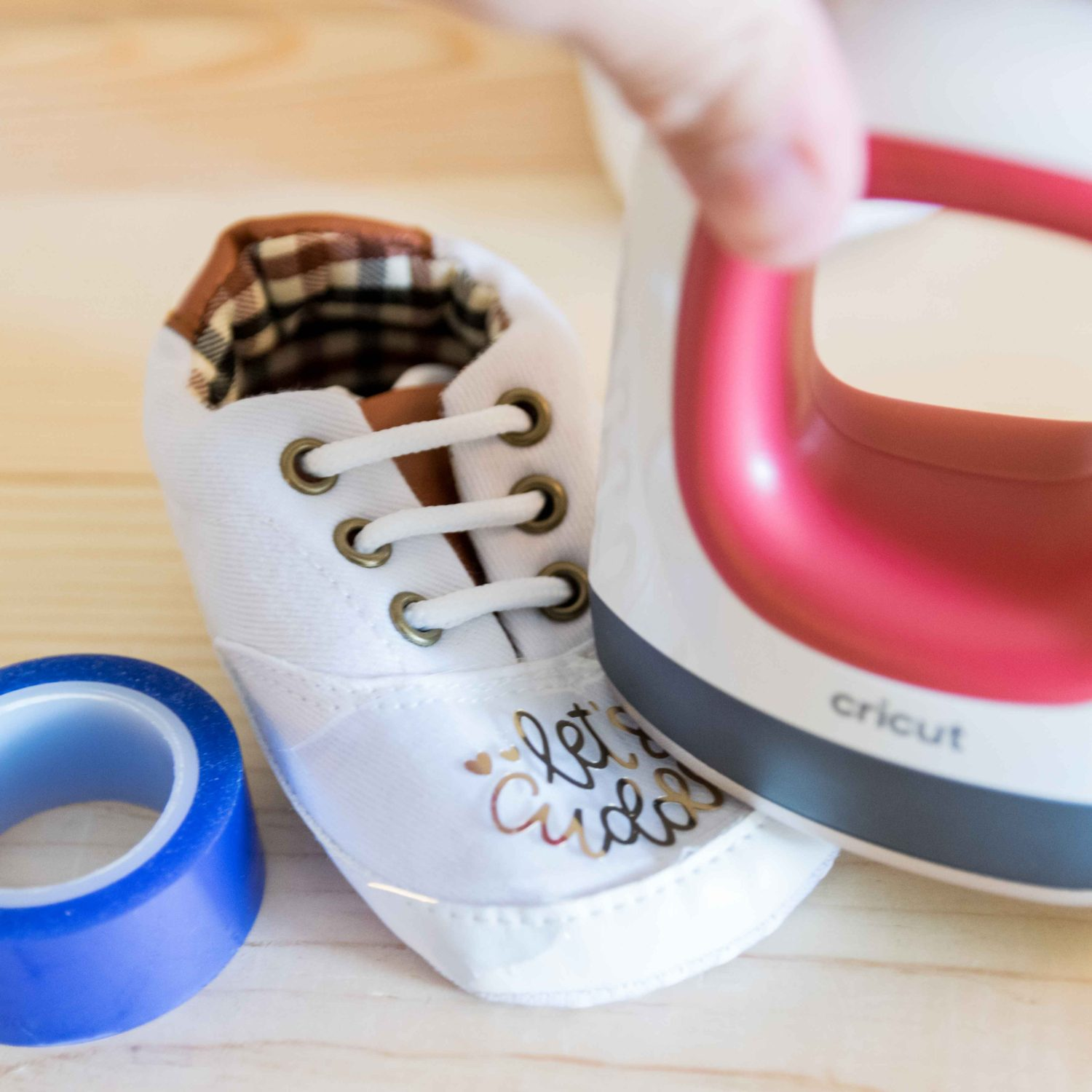 Easypress Mini pressing foil iron on baby shoes