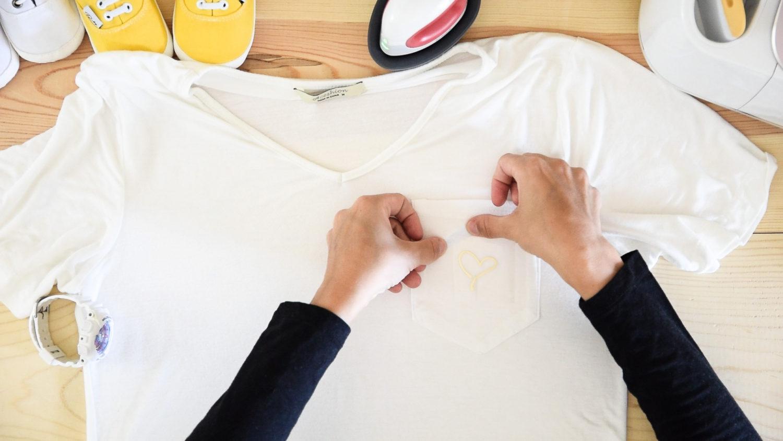 Placing Cricut Foil Iron-On on a pocket