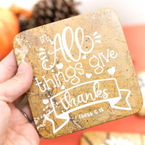 In all thinks give thanks fall coaster