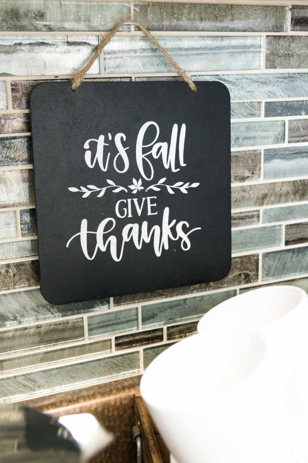 Chalkboard sign for fall made with Cricut