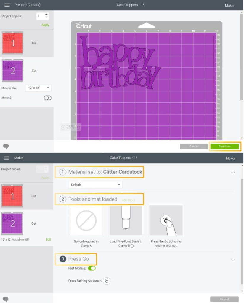 cutting preview and material selection in Cricut Design Space