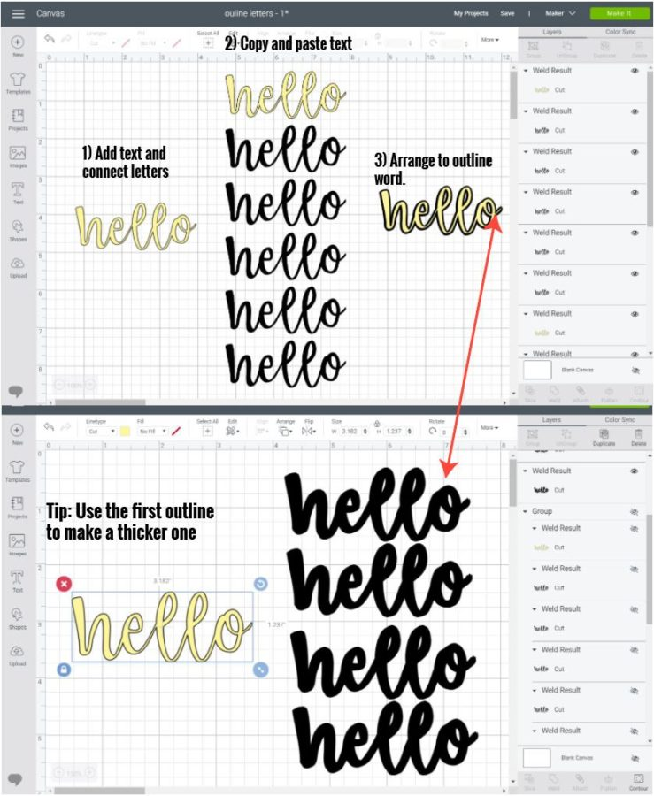 Adding outline to cursive and script fonts in Cricut Design Space