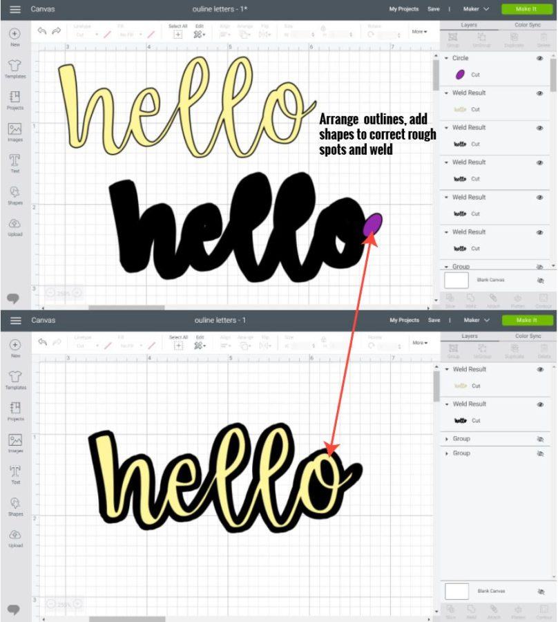 Adding a thick outline to Cursive fonts in Cricut Design Space.