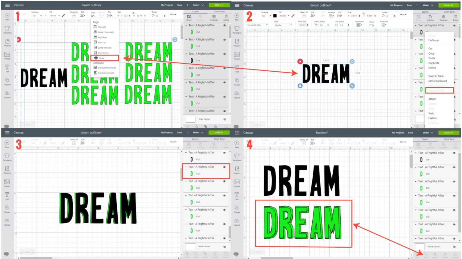 steps 1 to 4 adding a shadow (outline) to text in Cricut Design Space.