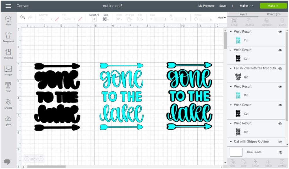 Example of adding shadows and outline to quotes in Cricut Design Space.