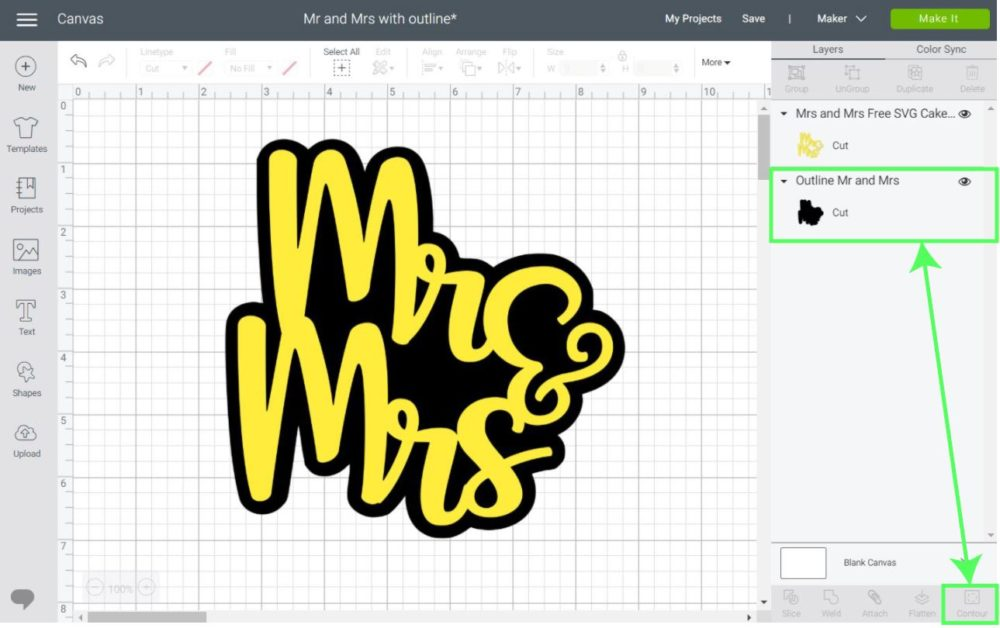Hiding contour on outlines and shadows in Cricut Design Space