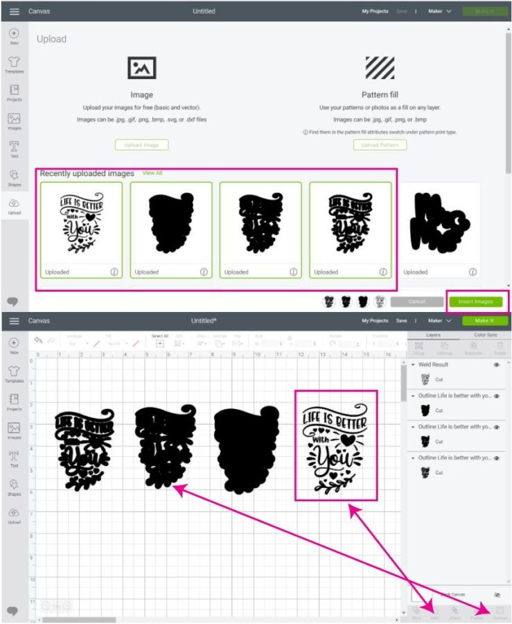 uploading multiple outlines ans shadows to Cricut Design Space.