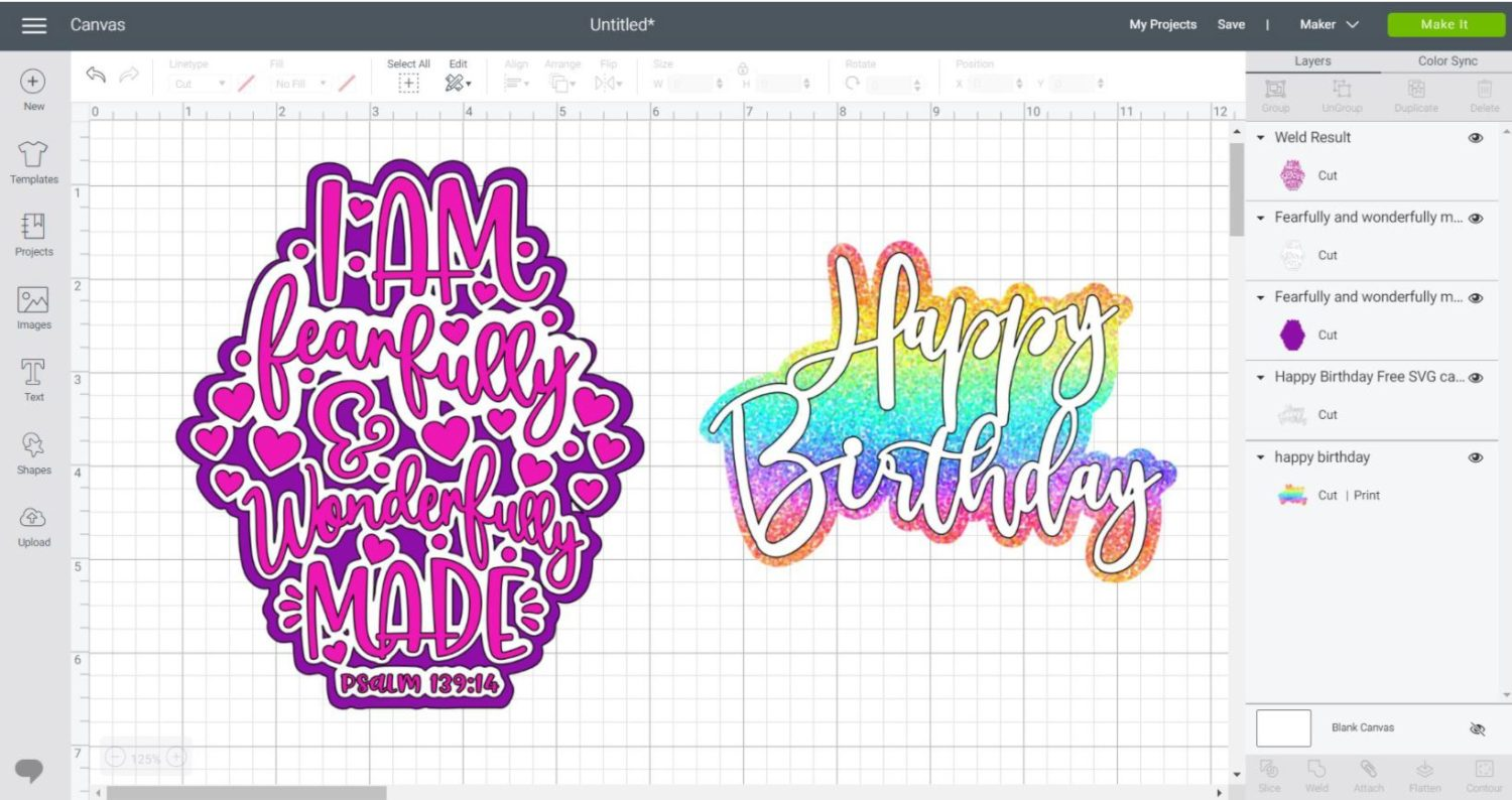 examples of shadows and outlines uploaded to Cricut Design Space.