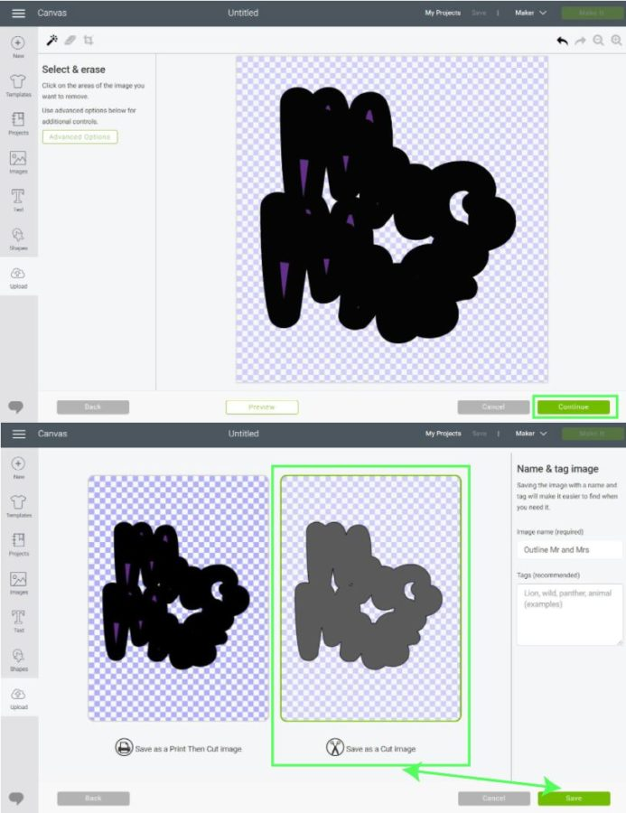 Upload outline (shadow) to Cricut Design Space. Step 2