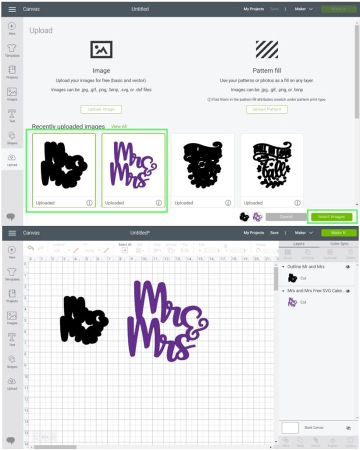 Upload outline (shadow) to Cricut Design Space. Step 3