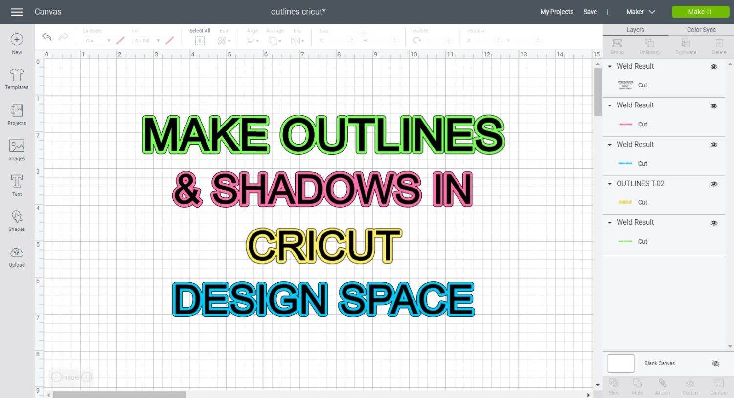 How To Make Outlines Shadows To Use In Cricut Design Space