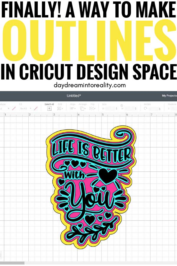 Pinnable Image for making outlines in Cricut Design Space.