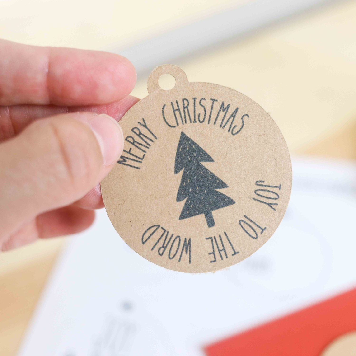 Farmhouse Christmas gift tags in Kraft cardstock
