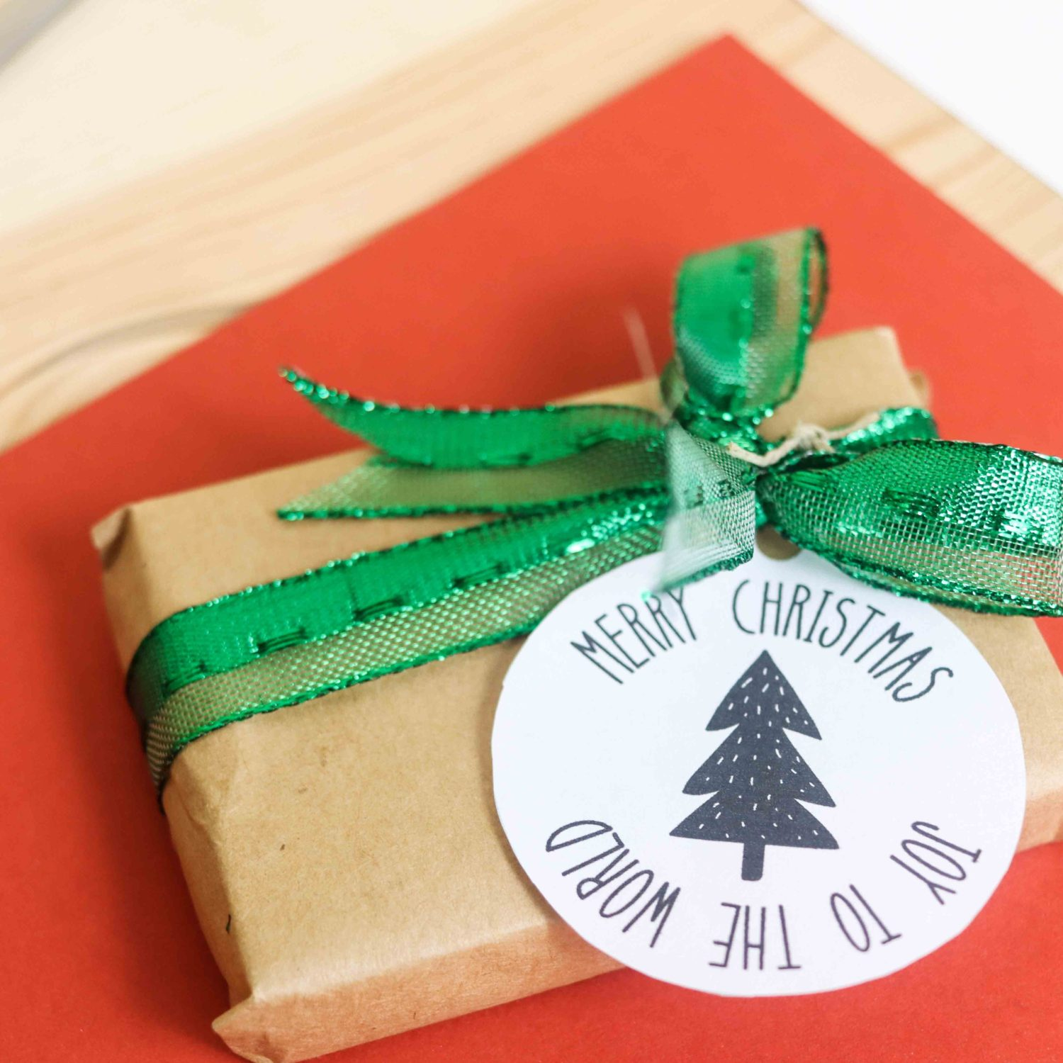 Farmhouse Style Christmas gift tags with a small gift