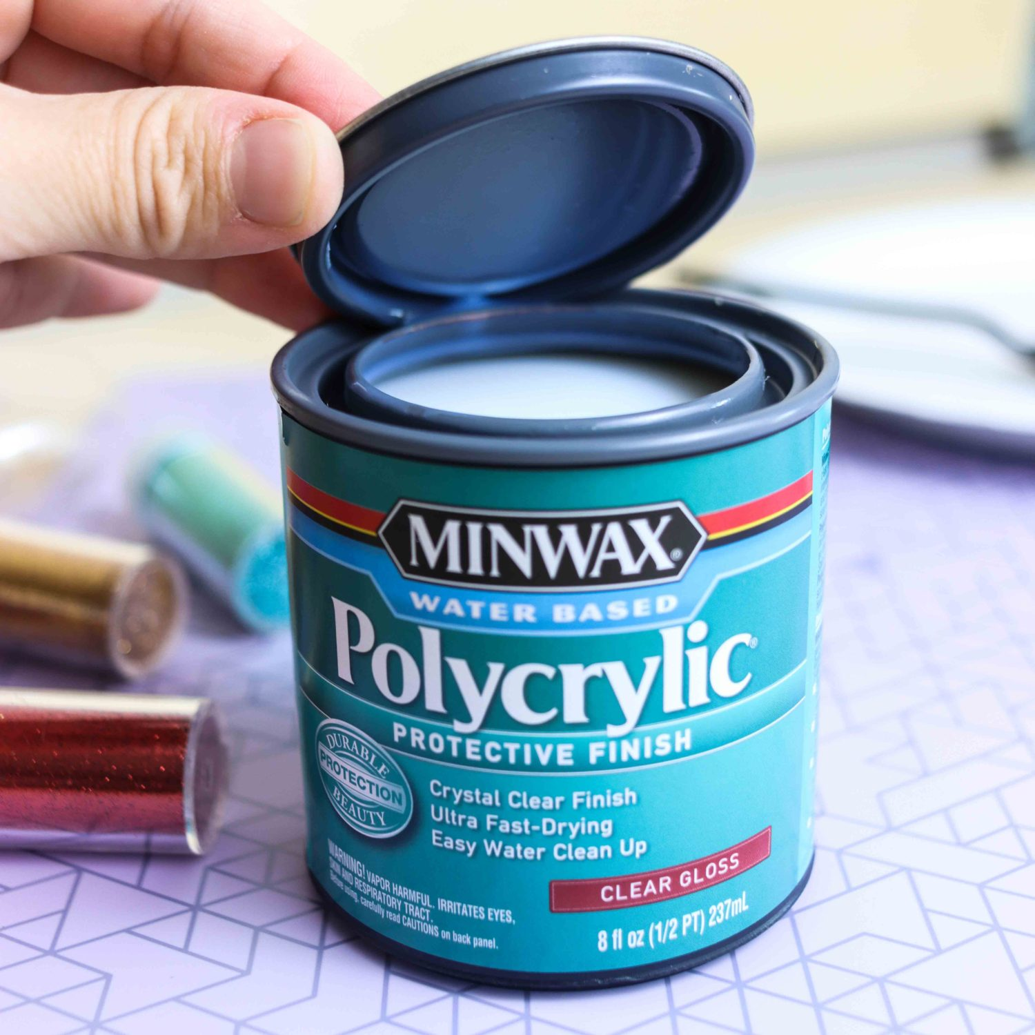 Polycrylic can for Christmas ornaments