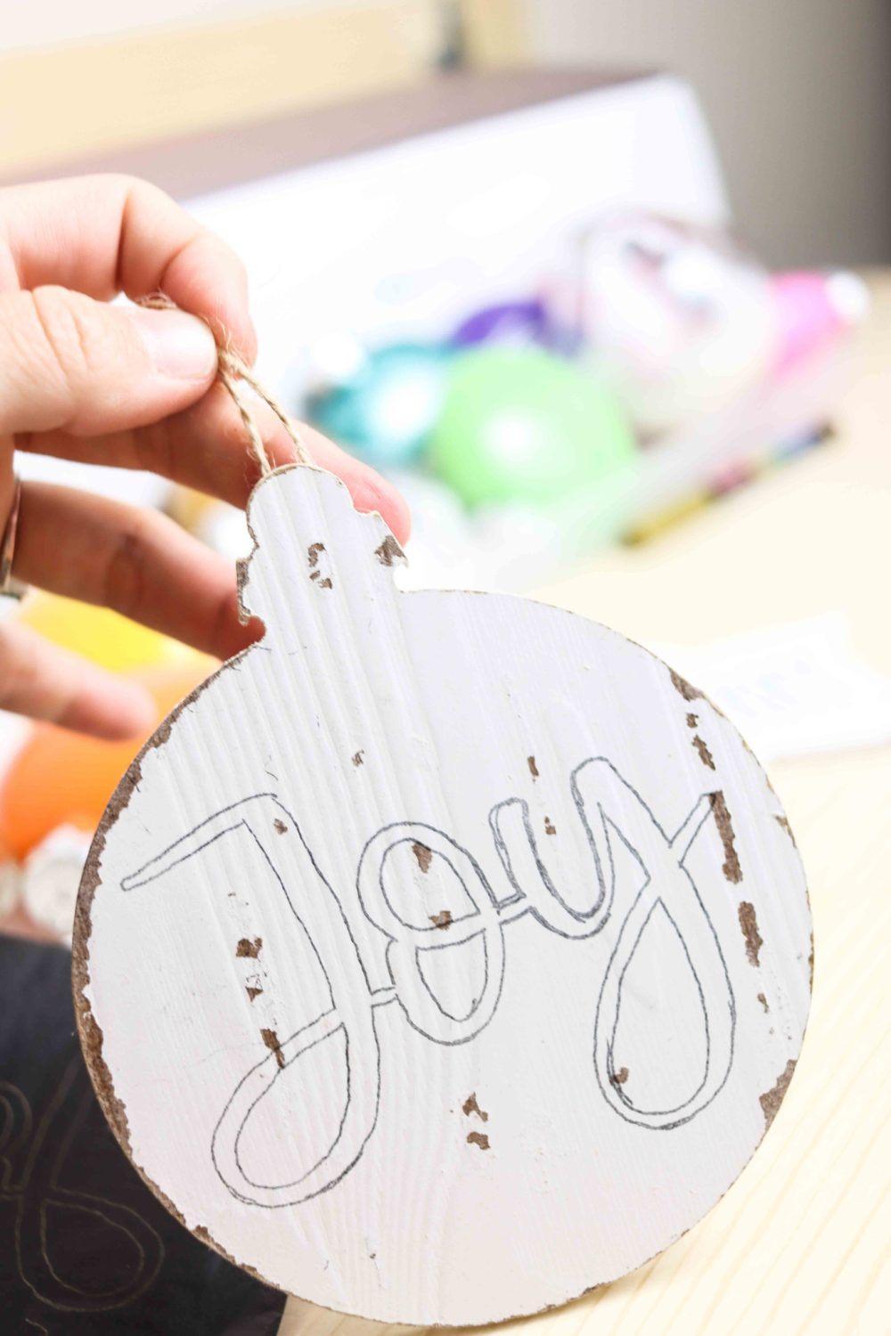Wooden Christmas Ornament with traced image