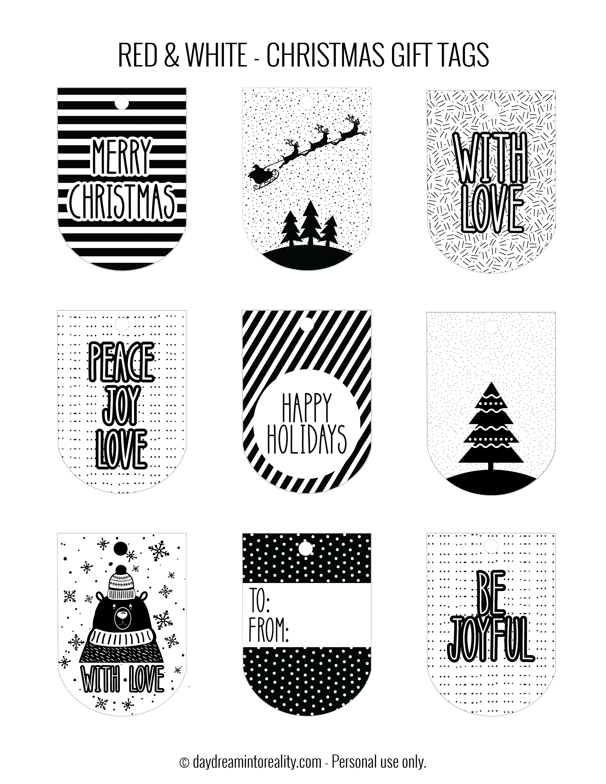 """White /& Black White Xmas Gift Stickers Christmas Gift Labels 4/"""" x 6/"""" Red"""