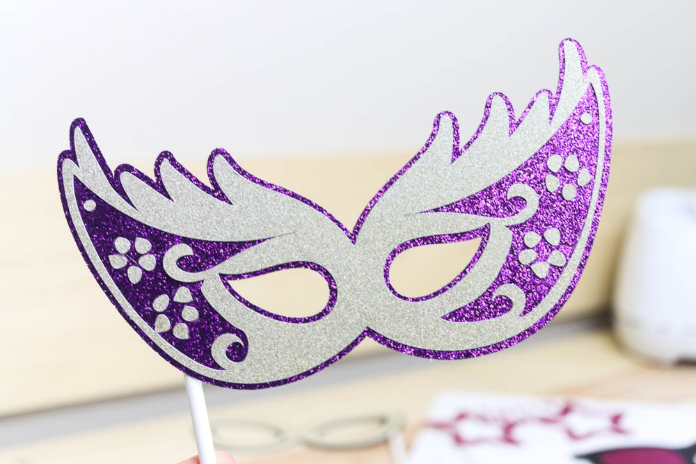 mask photo prop made with glitter cardstock and cricut
