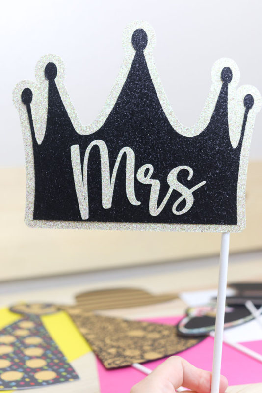 Weeding photo prop (Mrs.) made with black and white glitter cardstock.