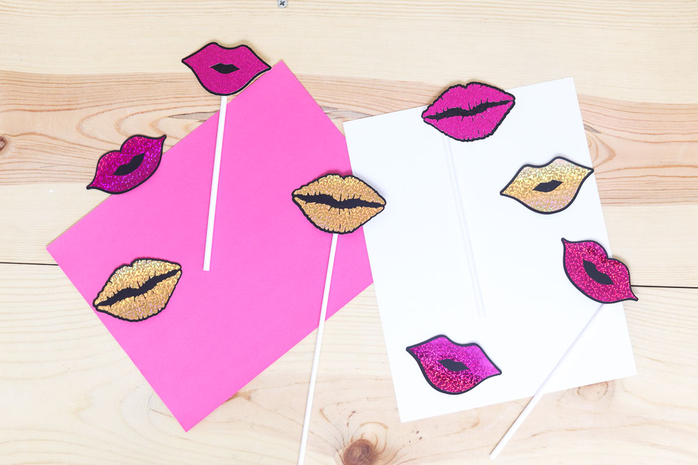 assorted lips photo props made with cricut machine