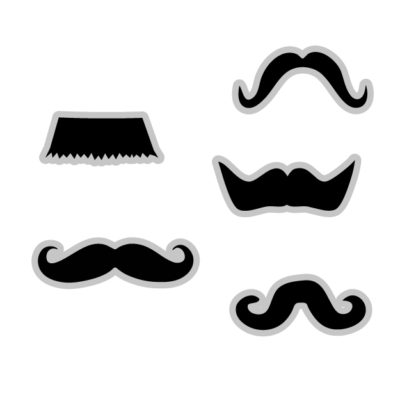 Different Mustaches Free SVG Template for photo booth props