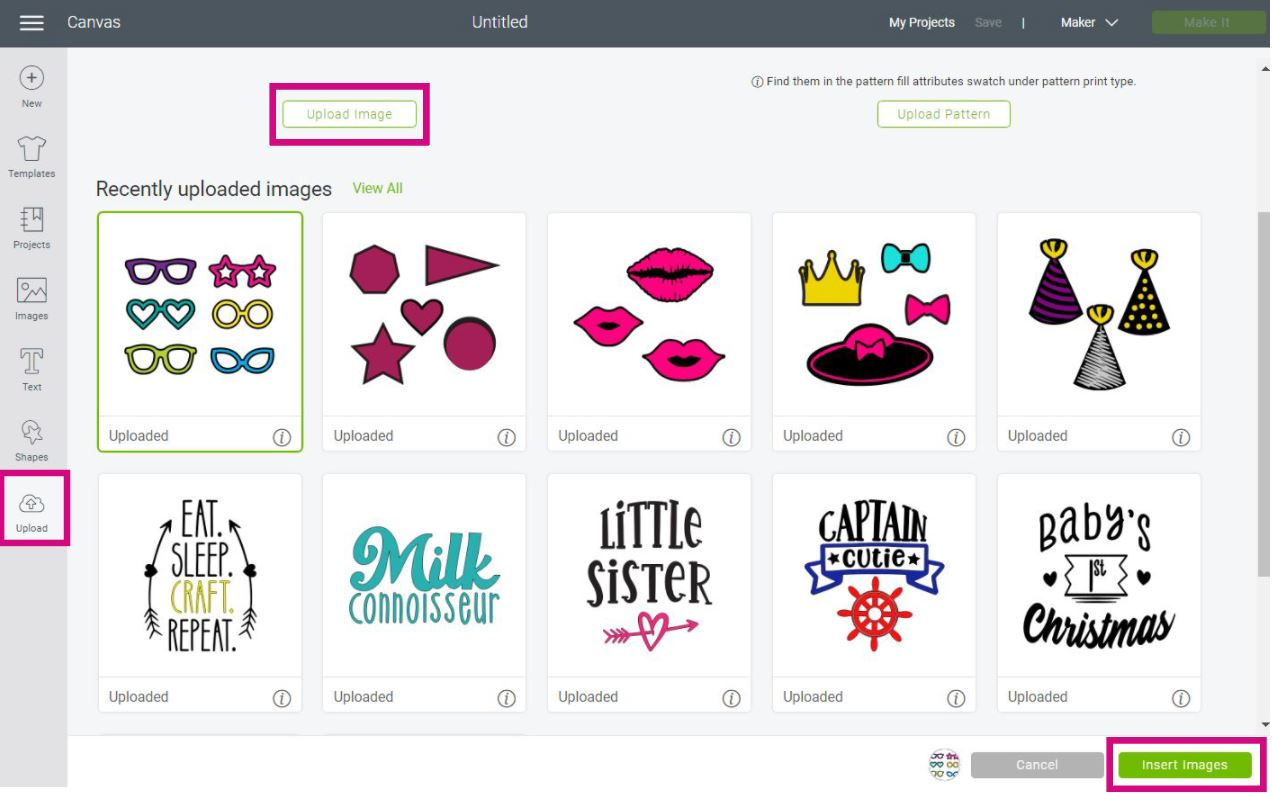 Uploading photo booth prop SVG files to Cricut Design Space.